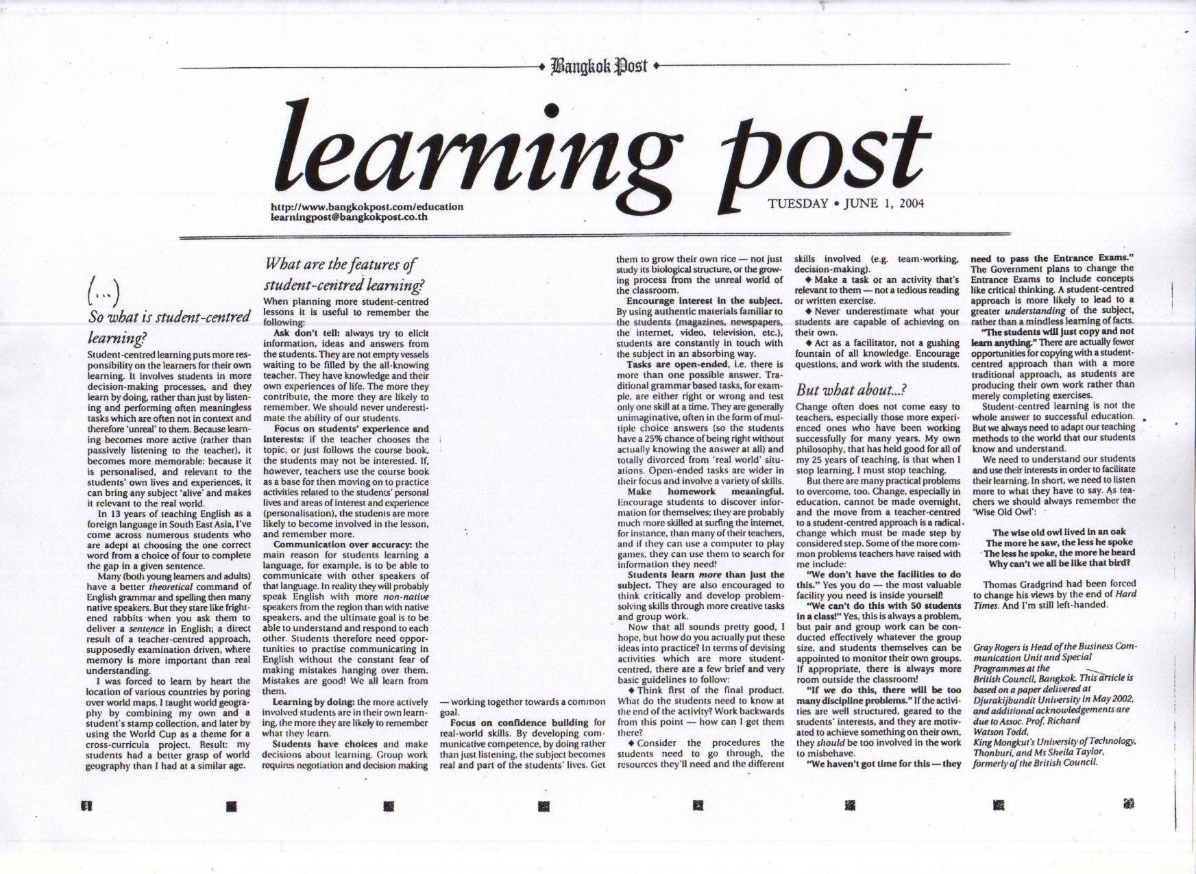 Learn English Online | Bangkok Post: Learning